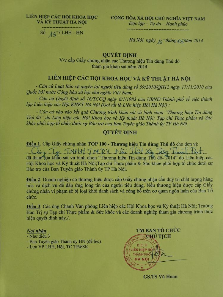 Thành Đạt nhận giấy chứng nhận Top 100 Thương hiệu tin dùng Thủ đô