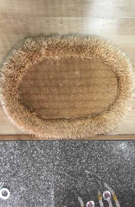 Thảm chùi chân lông xù hình elip